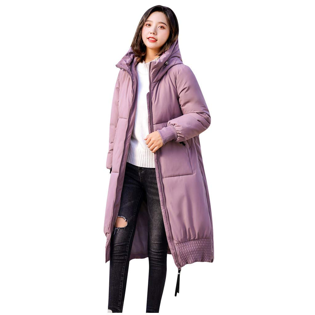 Pandaie Women Winter Jacket Long Trench Coat Parka Jacket Warm Fur Hooded Down Quilted Jacket Pink by Pandaie