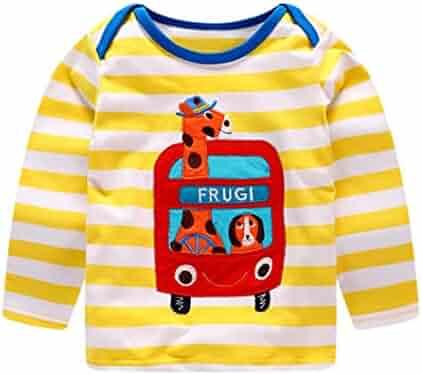 edbd93f6fea0 Fineser TM Toddler Baby Girls Boys Giraffe Cartoon Printing Sweatshirt  Striped T-Shirt Outfit Clothes