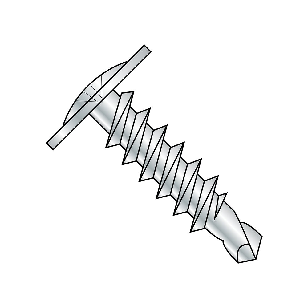 Steel Self-Drilling Screw, Zinc Plated Finish, Modified Truss Head, Phillips Drive, #3 Drill Point, #10-16 Thread Size, 4'' Length (Pack of 25)