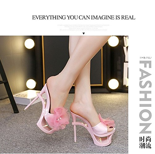 flor Tacon taladro 15 cm zapatillas tacones Cool agua XiaoGao super de fino de Pink angvddRZ