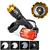 Sumger LT - TJ CREE XM-L T6 2000 Lumen 5-speed can focus flashlight,Waterproof IPX4 LED Cycling flashlight set(Bicycle taillights: 1, Mounting clips: 1)