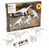Wild Republic Triceratops, Baryonyx, Velociraptor, and Diplodocus, Dinosaur Paint&Play Set 1, 4 paintable pieces, Paint and play Dinos
