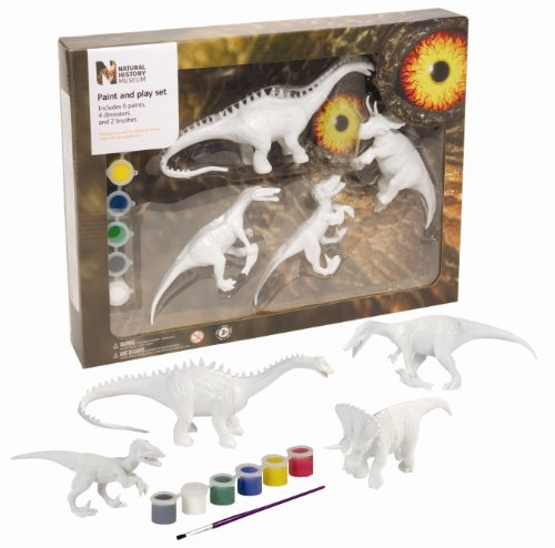 Wild Republic Triceratops, Baryonyx, Velociraptor, and Diplodocus, Dinosaur Paint&Play Set 1, 4 paintable pieces, Paint and play Dinos ()