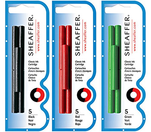 SHEAFFER PEN 5 Black, 5 Red & 5 Green Cartridges Bundle