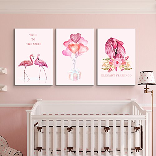 3 Panel Flamingo Triptych Series Elegant Balloons True to The Core x 3 Panels