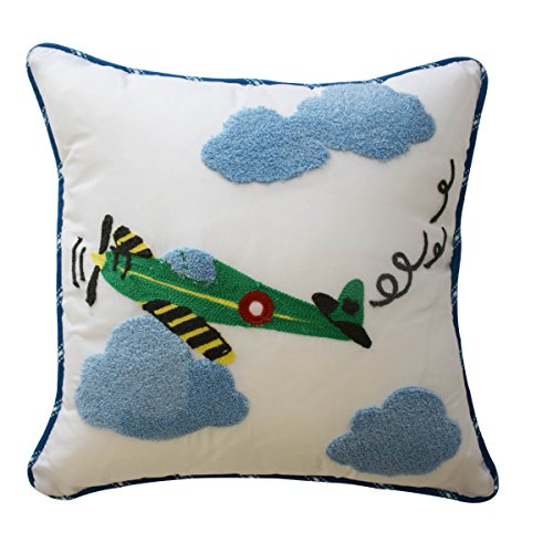 (Waverly Kids 16444015X015BLU In The Clouds 15-Inch by 15-inch Airplane Decorative Accessory Pillow, Blue)