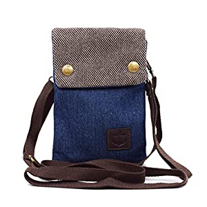 Women Cute Candy Blue Crossbody Bag / Cellphone Purse / Mini Shoulder Bag / Cellphone Pouch, WITERY Canvas 4 Bags Small Wallet with Adjustable Shoulder Strap
