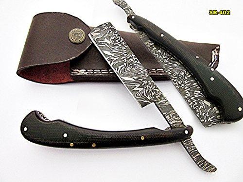 Poshland Knives RZ-402, Custom Handmade Damascus Steel Straight Razor - Beautiful File Work on Two Tone Micarta Handle
