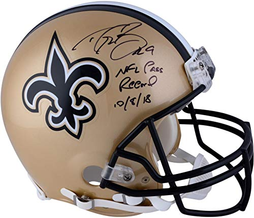 (Drew Brees New Orleans Saints Autographed Riddell Authentic Pro-Line Helmet with NFL Passing Record Inscription - Fanatics Authentic Certified)