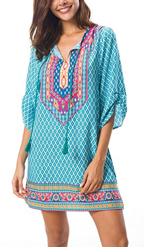 Women Bohemian Print V Neck Casual Dress Ethnic Style Summer Tunic Top (XL, 1)