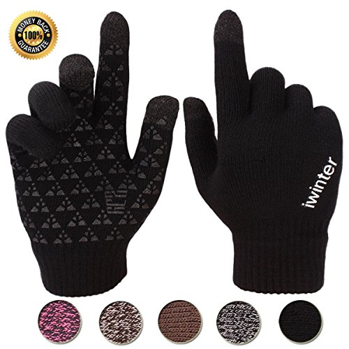Achiou Touchscreen Knit Gloves Winter Warm for Women Men Wool Lined Texting (Black for Women)