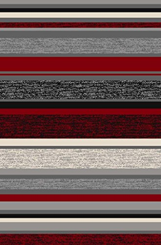 Anti-Bacterial Rubber Back AREA RUGS Non-Skid/Slip 5x7 Floor Rug | Red Stripes Colorful Indoor/Outdoor Thin Low Profile Living Room Kitchen Hallways Home Decorative Traditional Area Rug (Kitchen Room Rugs)