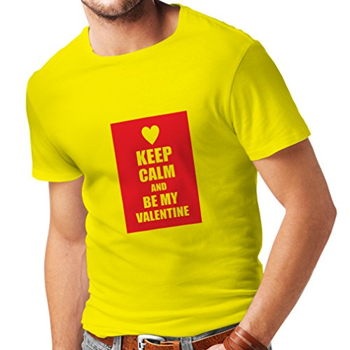 T Shirts for Men Keep Calm and Be My Valentine - I Love You Quotes, Gifts (X-Large Yellow Red)