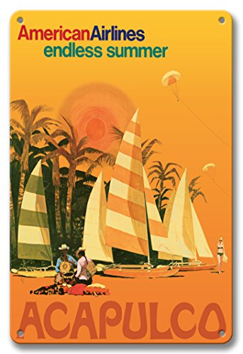Pacifica Island Art 8in x 12in Vintage Tin Sign - Acapulco Mexico - American Airlines - Endless Summer