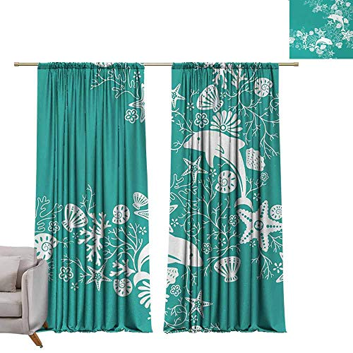 berrly Tie Up Shades Rod Blackout Curtains Sea Animals,Dolphins Flowers Sea Life Floral Pattern Starfish Coral Seashell Wallpaper,Sea Green White W96 x L96 Adjustable Tie Up Shade Rod Pocket Curtain