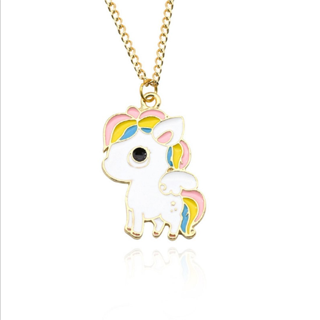 VWH Women Girls Alloy Necklace Colorful Unicorn Pendant Clavicle Bone Chain Necklace Jewelry Gift