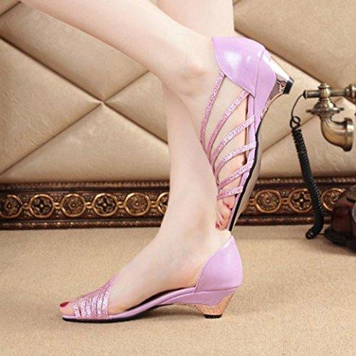 Euone Fashion Uitsparingen Vrouwen Sandalen Open Teen Lage Wiggen Zomerschoenen Beach Shoes Purple