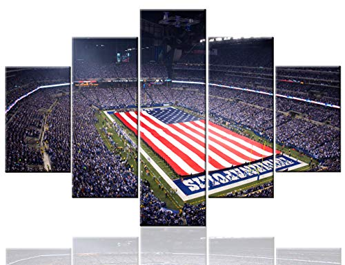 Native American Decor Lucas Oil Stadium Pictures National Anthem Paintings 5 Pcs/Multi Panel Canvas Wall Art Artwork Home Decor for Living Room Framed Ready to Hang Posters and Prints(60''Wx40''H)]()
