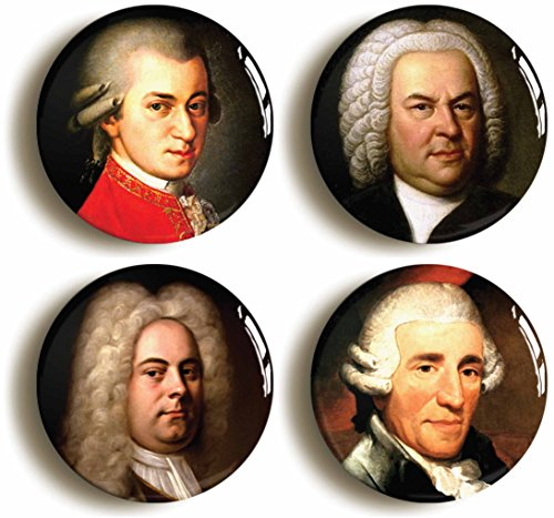 Handel Costume (Classical Composers Button Pin Set (Size Is 1inch Diameter) Mozart, Bach, Haydn, Handel)