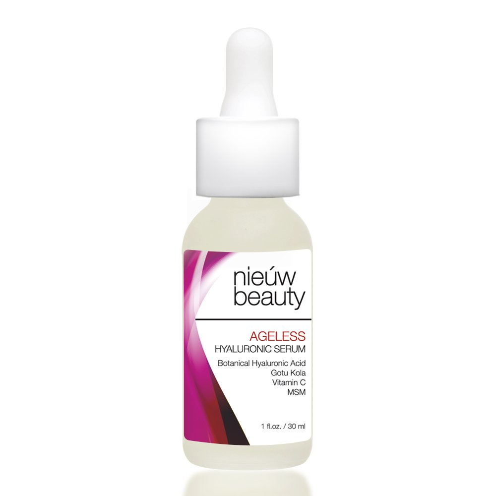 AGELESS HYALURONIC SERUM by nieuw beauty. Anti-Aging & Hydrating Serum for Women and Men. Botanically derived Hyaluronic Acid. Non-greasy with instant hydration and plumping. All Skin Types. 1oz/30ml