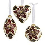 Kurt Adler Capiz Laminated Ball, Heart & Teardrop Ornaments, Set OF 3
