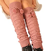 Tirain Women's Kintted Leg Warmer High Socks with Ball for Boots