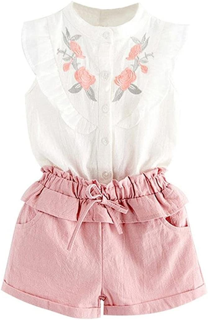 Moonker Toddler Kids Baby Girl Summer Outfit Clothes Embroidery T-Shirt Tops Shorts Pants Set