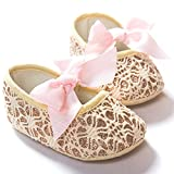 Lace Bow Pattern Soft Sole Baby Shoes 0-12 Months to Practice Walking Princess Shoes (M)