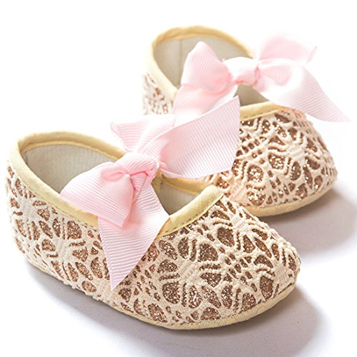 (Lace Bow Pattern Soft Sole Baby Shoes 0-12 Months to Practice Walking Princess Shoes (S))