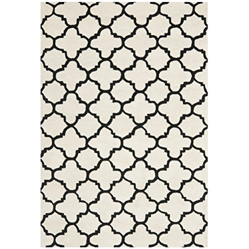 Safavieh Chatham Collection CHT717A Handmade Ivory and Black Premium Wool Area Rug (10' x 14') - Ivory Rug Black Rug