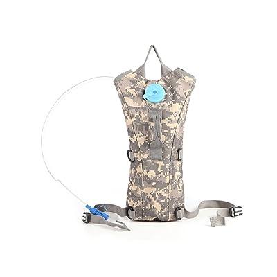 Aogolouk 3 Litre Rucksack randonnée sac d'eau camelbak nylon camouflage militaire hydratation sac à dos (Camouflage Désert gris, L)
