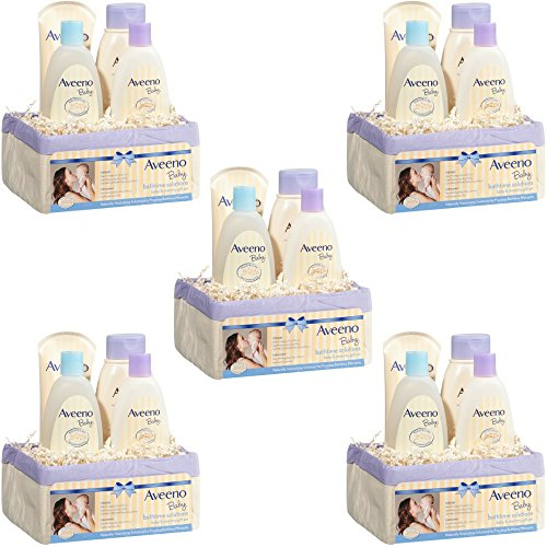 Aveeno Baby Daily Bath Time Solutions Gift Set To Prevent Dry Skin (5 Gift Set)