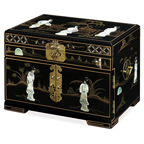 ChinaFurnitureOnline Jewelry Box with Mother of Pearl Maidens on Black Lacquer