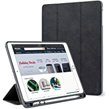 iPad Pro 12.9 Case with Pencil Holder, Lightweight Smart Case Trifold Stand with Auto Sleep/Wake Function, Microfiber Lining, Flexible Soft TPU Back Cover for Apple iPad 12.9-inch,Black