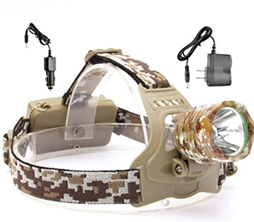 1 Set 5600 Lumens Camouflage Cree XML T6 LED Headlamp 3 Mode 38W Flashlights Inspiring Fashionable Tactical Military Soldier Army Navy Marine Flashlight w/ 2x 18650 Battery US Car Charger, Type-05