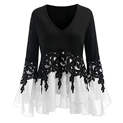 iYYVV Womens Long Sleeve Plus Size Casual Applique Flowy Chiffon V-Neck Blouse Tops