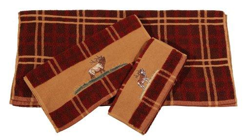 HiEnd Accents 3-Piece Elk Lodge Towel Set, Plaid by HiEnd Accents