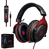 CXCase 2017 SADES CX-778 PS4 Xbox One 3.5mm Gaming Headset Over-Ear Gaming Headphones With Mic, Volume Control, Noise Cancelling, Headphone Case For PC, Smart Phones, Tablet, Laptops (Black Red)