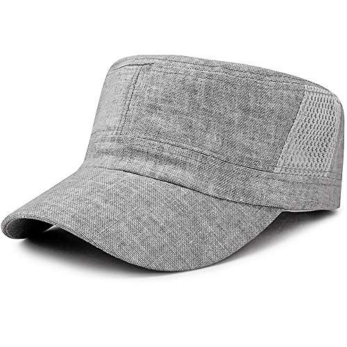 (Glamorstar Unisex Cadet Army Cap Washed Cotton Twill Military Corps Hat Flat Top Cap Flaxen Gray)