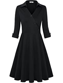 HNNATTA Womens Retro Collar V Neck Half Sleeve Vintage Work Office Dress Cocktail Swing Dresses