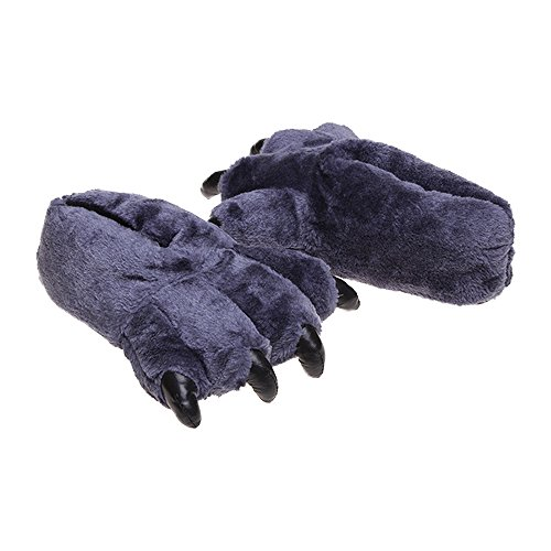 Eastlion Winter Home Bear's Paw Slippers Men Women Leopard Cartoon Warm Cotton Slippers Dark Blue (30cm) jXI7Ii