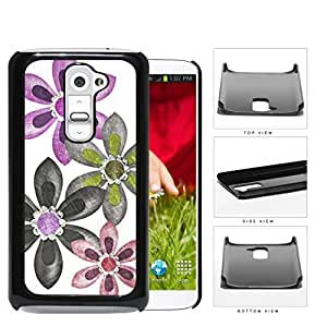 Grunge Flower Sketch With Amethyst Stones Hard Plastic Snap On Cell Phone Case LG G2