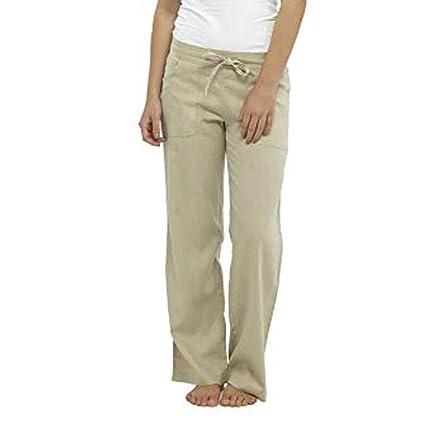 Amazon.com: Suma-ma - Pantalones de mujer de lino cómodos ...