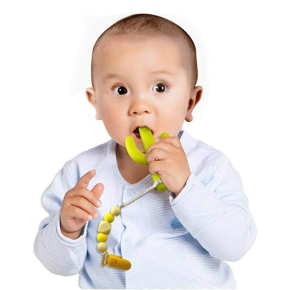 Mordedores para bebé y Cadenas para chupetes,Chupetero Personalizado & Mordedor de Silicona Antibacteriana cepillo bebe dientes,Bebe dentición ...