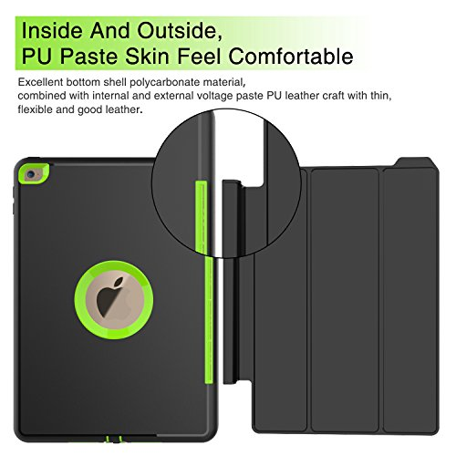 Qelus iPad Air2 Case, Three Layer Hybrid Shockproof Rugged Protective Heavy Duty with Magnetic Stand, Smart Cover Auto Wake/Sleep Protective Case Cover for Apple iPad Air 2(2014 Released),Black+Green by Qelus (Image #6)