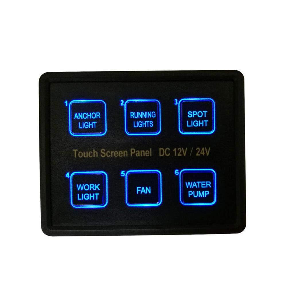 Febelle 12 V 24 V 6 Bande LED Touch Screen Sottile Interruttore Pannello di Controllo Auto Barca Camion Marine