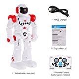 Wenjuan Smart Robot Toys Threeking Remote Control & Gesture Control Robot Gift for Boys Girls Kid's Companion:Game Fun Learning Music Dance Etc.Rechargeable Rc Robot Kit (Red)