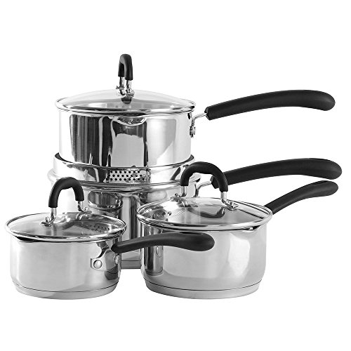 ProCook Gourmet Stainless Steel Induction Strain & Pour Saucepan Set 4...