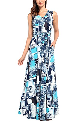 Comila Floral Maxi Dresses for Women Plus Size, Summer Sleeveless Vacation Beach Dress Maternity Floral Crossover Maxi Wrap Long Dress Turquoise XXL (US 18-20) (Turquoise Maxi Dress Plus Size)