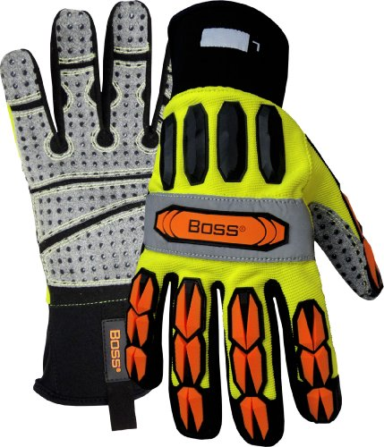 Price comparison product image Boss 6100MX High-Vis Impact Molded Knuckle / Finger Glove,  PVC Palm,  X-Large,  Orange / Yellow / Black